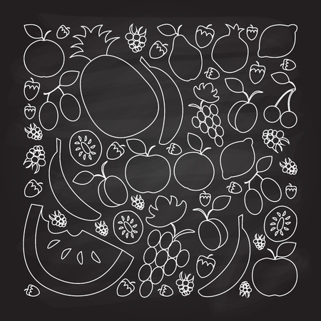 illustration of fruit set in flat linear design style on textured background