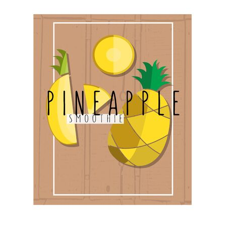 colorful illustration of pineapple slices in flat design style with signature on textured wood table background