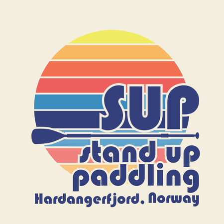 illustration with signature SUP stand up paddling Hardangerfjord, Norway in flat design style on textured background Ilustrace