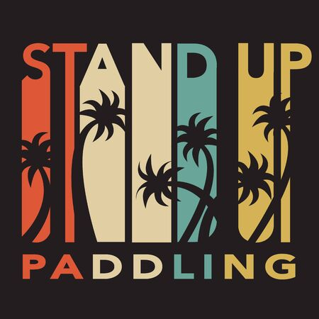 illustration of stand up paddle set in flat design style Vettoriali