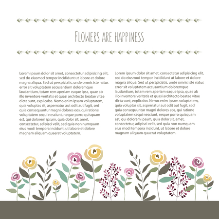illustration of floral template in flat design style with roses, signature and text