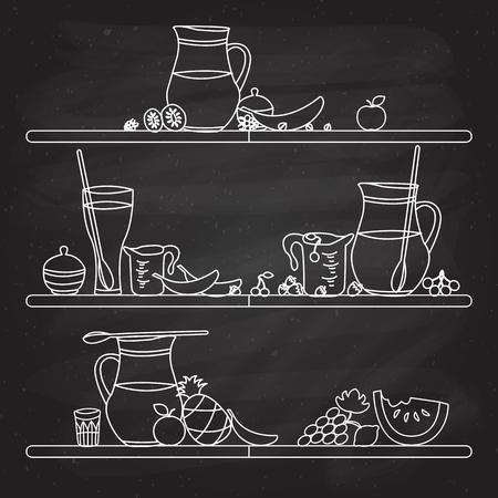 illustration of fruit smoothie bar shelf hand drawn in flat linear design style on textured blackboard background Ilustrace