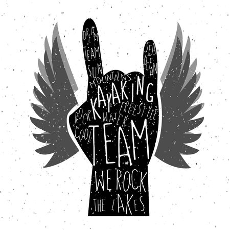 surf team: illustration of flat design style textured hand with signature kayaking team we rock the lakes on textured background Illustration