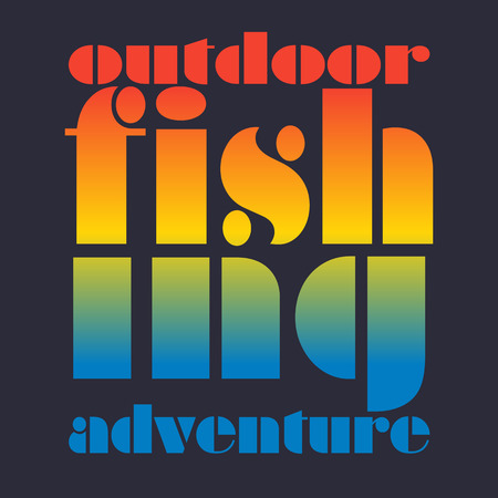wet t shirt: illustration of colorful flat design style signature outdoor fishing adventure as a template