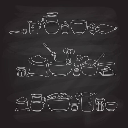 backing: illustration of kitchen utensils on the blackboard Illustration