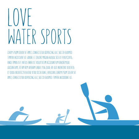 wet shirt: flat design style illustration with signature  love water sports, text and a men with kayaks on colorful background Illustration