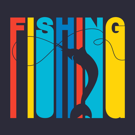 wet t shirt: illustration of colorful flat design style signature fishing with swordfish silhouette as a template