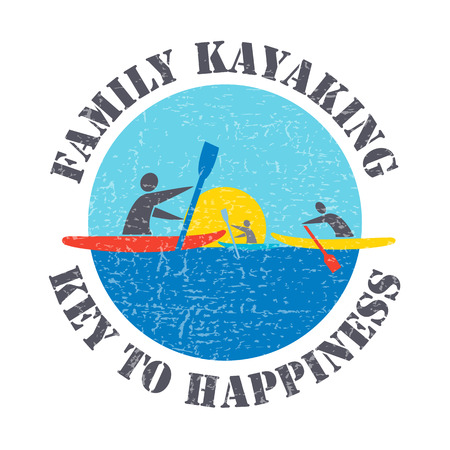 key signature: flat design style illustration with signature Family Kayaking Key to Happiness and people with kayaks on textured background Illustration