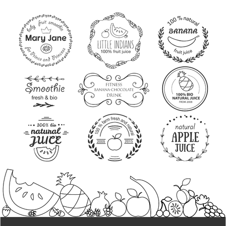 fruit smoothie: Set of different hand drawn templates for fruit smoothie and juice Illustration