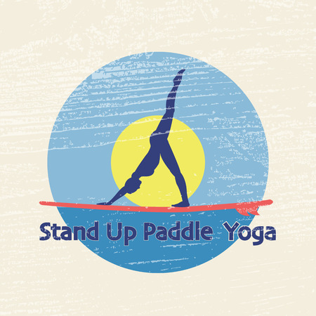 flat design style illustration of stand up paddle yoga with stand up paddle and woman silhouette on textured background