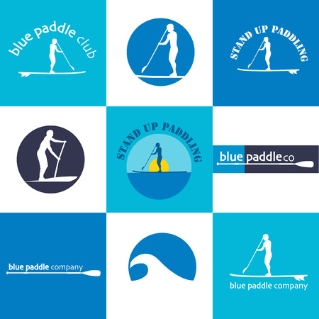 Colorful set of different templates for stand up paddling Illustration