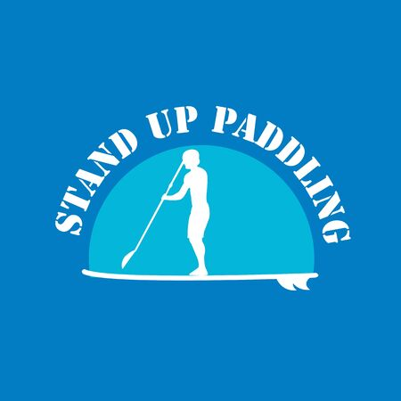 flat design style illustration of stand up paddle