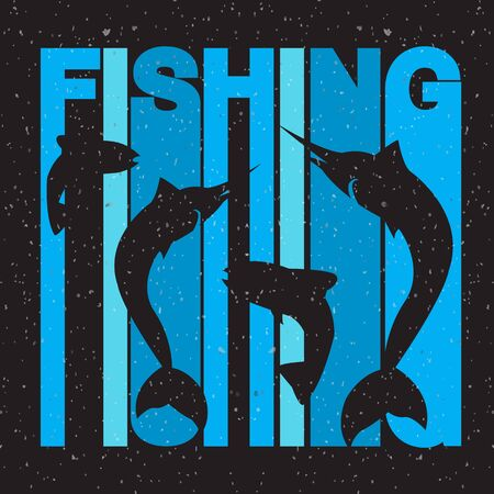 typography signature: illustration of colorful flat design style signature fishing with swordfish and salmon silhouettes on textured background