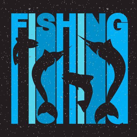 """pez espada: ilustraci�n de dise�o plano estilo de la firma """"pesca"""" de colores con pez espada y salm�n siluetas sobre fondo de textura"""