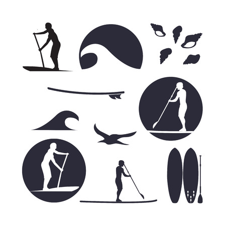 surfer: illustration of stand up paddling silhouette icon set in flat design style Illustration