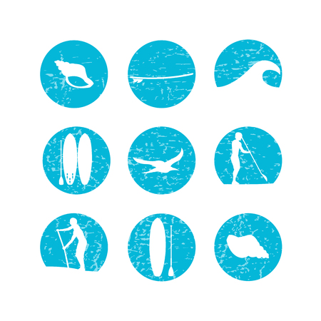 illustration of stand up paddling silhouette icon set in flat design style on textured background
