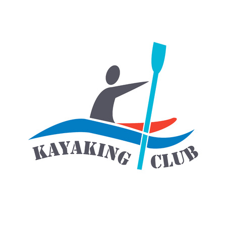 wet shirt: flat design style illustration of signature Kayaking Club and man with kayak  on white background Illustration