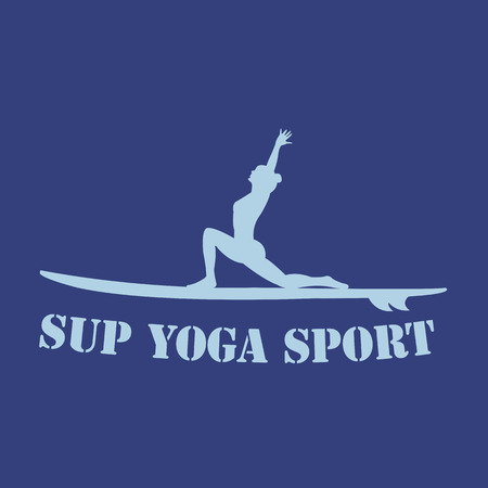 flat design style illustration of stand up paddle yoga logotype with stand up paddle and woman silhouette