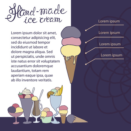 sketched: hand drawn sketched illustration of hand-made ice cream with signature