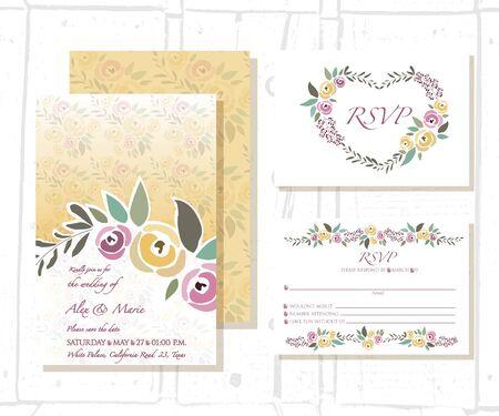 signature: illustration of floral invitation template with signature