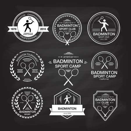 badminton: Set of different templates for badminton. flat design style illustration of icons