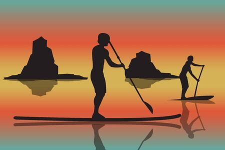 illustration of two men with stand up paddle boards and paddles on the colorful sunset background with shadows