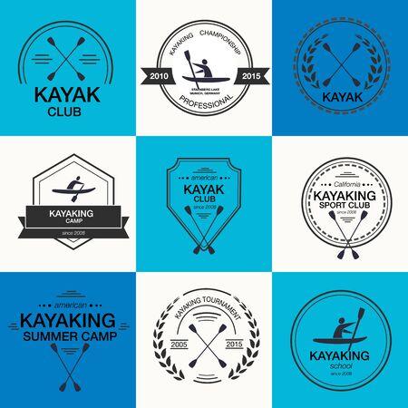 ocean kayak: Conjunto de diferentes plantillas para kayak. etiquetas silueta atl�tica e insignias