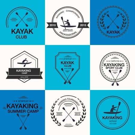 kayak: Set of different templates for kayaking. athletic silhouette labels and badges