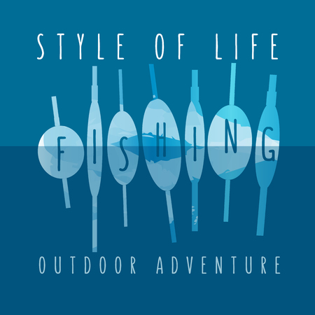 wet shirt: vector illustration of colorful flat design style signature style of life fishing outdoor adventure as a template for your design, article or print