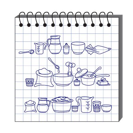 sketchbook: illustration of kitchen utensils in the sketchbook Illustration