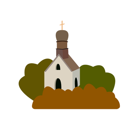 old church: illustration of an old medieval church in a flat design style