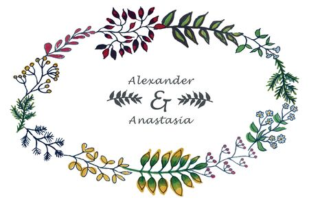 illustration of colorful hand painted herbal set