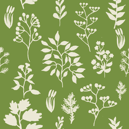 herbal background: illustration of hand painted herbal seamless background