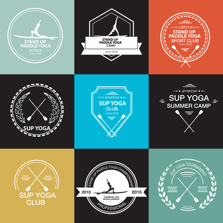 Set of different templates for stand up paddle yoga Illustration