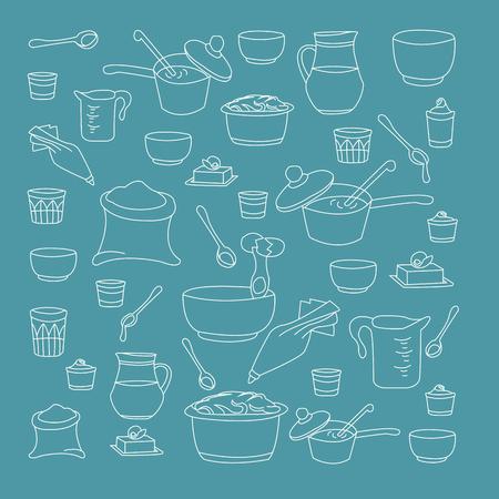 backing: illustration of kitchen utensils