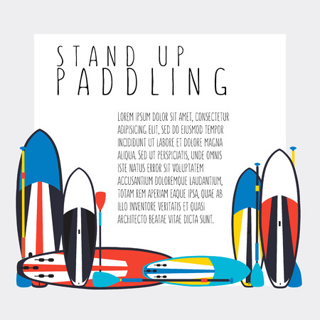 illustration of stand up paddle boards and paddles set in flat design style with signature and text as template Ilustrace