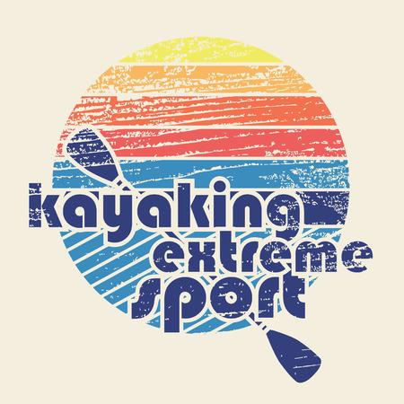 """ocean kayak: colorida ilustración con la firma """"El kayak deporte extremo"""" en el estilo de diseño plano sobre fondo de textura"""