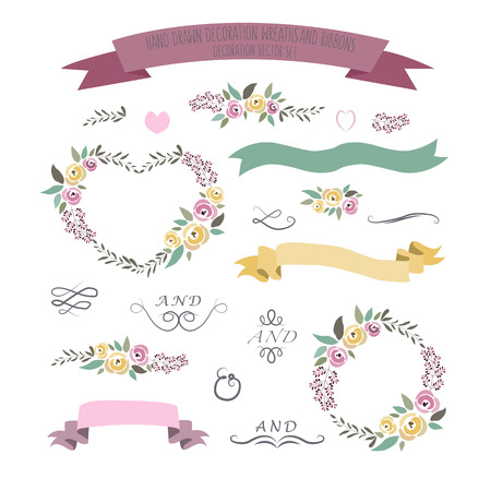 illustration of colorful flat design style floral frames, ribbons and wreaths set