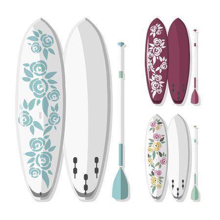 pizarra: ilustración de stand up paddle board y remar con el fondo colorido de la flor con la sombra Vectores