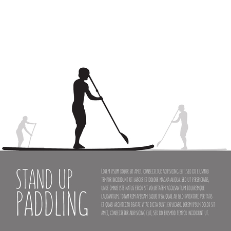 illustration of three men with stand up paddle boards and paddles on grey background with signature and text