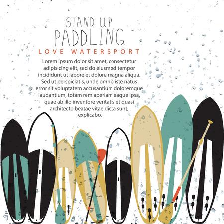 illustration of stand up paddle set in flat design style Illustration