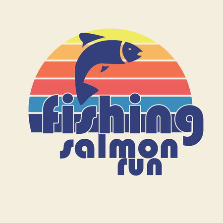 salmon run: illustration of colorful flat design style signature fishing salmon run with salmon silhouette as a template
