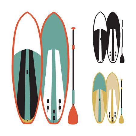 illustratie van stand up paddle-planken Stock Illustratie