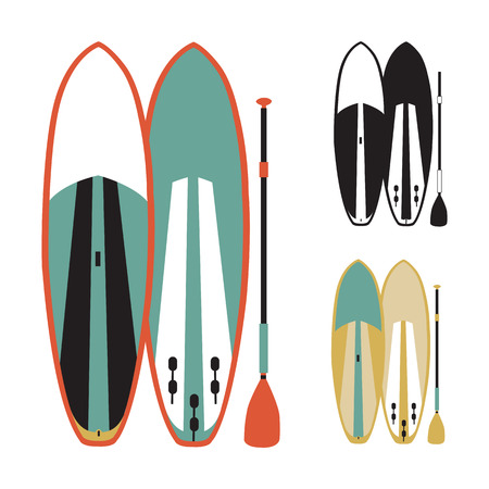 stand up: illustration of stand up paddle boards