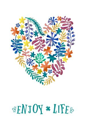 enjoy life: watercolor floral collection. Awesome flower postcard template. Bright romantic card with signature: Enjoy Life. Hand drawn design elements.