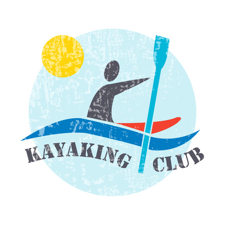 wet shirt: flat design style illustration with signature Kayaking Club and man with kayak  on textured background