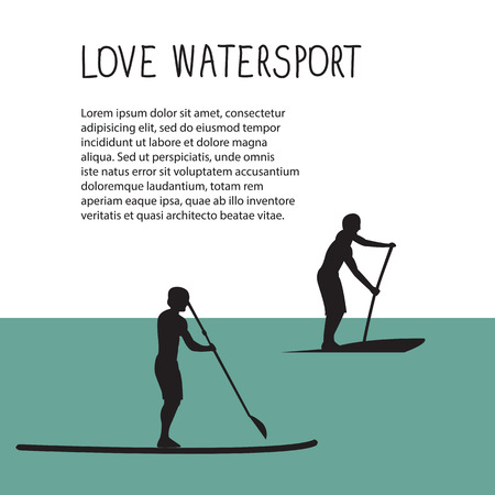 illustration of two men with stand up paddle boards and paddles