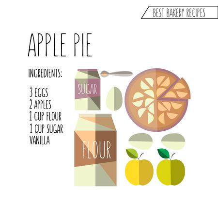 pastel de manzana: colorida ilustraci�n de piso estilo de dise�o de la manzana receta de pastel con los ingredientes Vectores