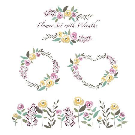 illustrazione di fiori e corone di fiori situato in stile design piatto