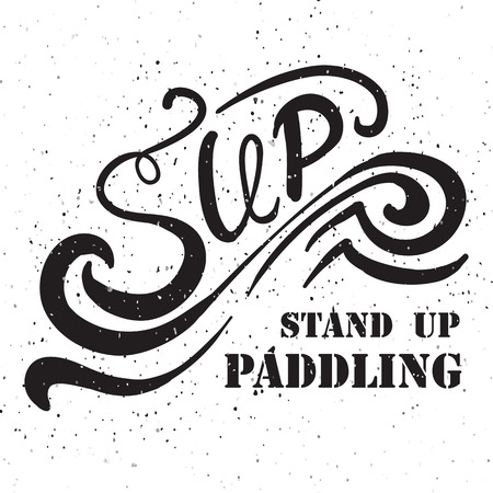 hand stand: flat design style hand drawn illustration of signature: Sup Stand Up Paddling on textured background